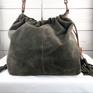 B153 Lucky Brand  Suede Boho Style Slouchy Tote